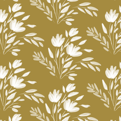 Large Etched Floral in Dark Citron