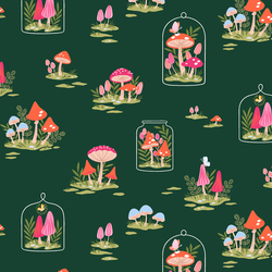 Mushroom Garden in Deep Green