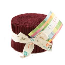 Bella Solids Junior Jelly Roll in Burgundy