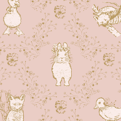 Large Bunny and Friends in Golden on Muted Blush
