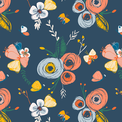 Floral in Blue Horizon