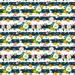 Small Orange Blossoms in Navy Stripes
