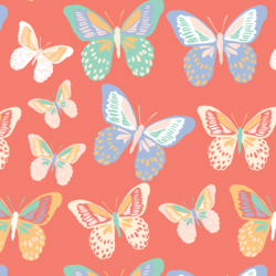 Butterflies in Bright Coral