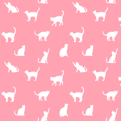 Cat Silhouette in Rose Pink