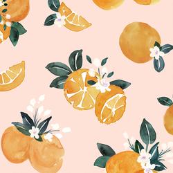 Large Vintage Oranges in Pink Blossom
