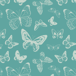 Boho Butterflies in Ocean Teal