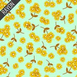 Daisies Rayon in Mint