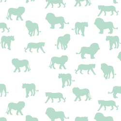 Lion Silhouette in Mint on White