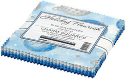 """Holiday Flourish 14 5"""" Square Pack in Blue"""