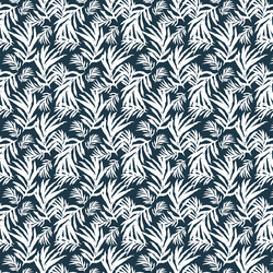 Palm Fronds in Deep Navy