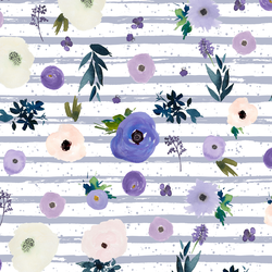 Drifting Blooms in Lilac Spatter Stripe