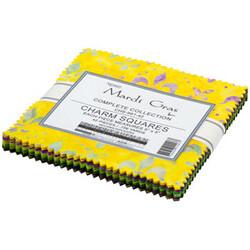"""Mardi Gras Artisan Batiks 5"""" Square Pack"""