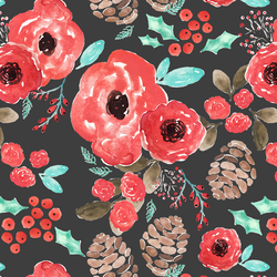 Holiday Floral in Onyx