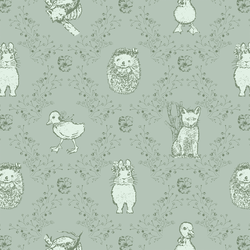 Bunny and Friends in Soft Pine on Muted Aqua