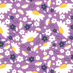 Daisies in Navy and Violet