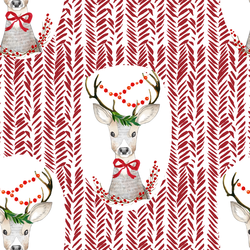 Fancy Holiday Deer in Berry Red