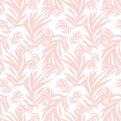 Large Palm Fronds in Powder Pink on White