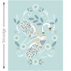 Swan Lake Quilt Panel in Glacier Blue