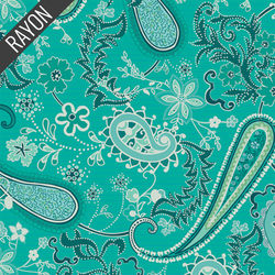 Paisleys Forever Rayon in Turquoise