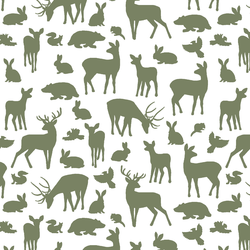 Forest Friends in Olive on White