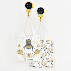 Bee Kind Tote Panel in Onyx and Gold