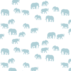Elephant Silhouette in Powder Blue on White