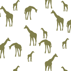 Giraffe Silhouette in Jungle on White