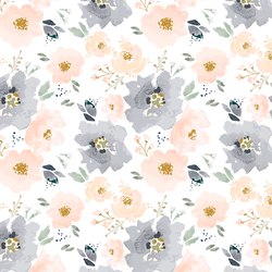 Full Bloom Floral in Peach and Navy
