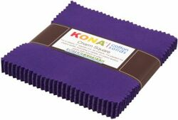 """Kona Solid 5"""" Square Pack in Purple"""