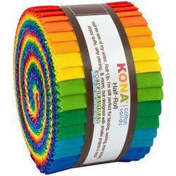 "Kona Solid 2.5"" Strip Junior Roll in Bright Rainbow"