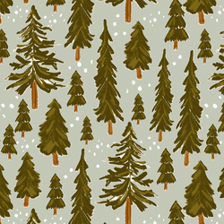 Large Snowy Pines in Iced Sage