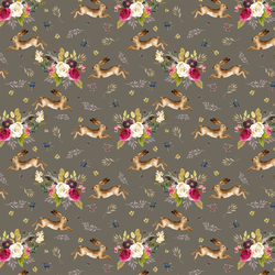 Small Autumn Bunnies in Dark Taupe