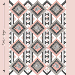 Zebra Hills Quilt Panel in Peony and Taupe