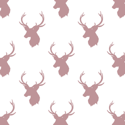 Little Stag Silhouette in Antique Rose on White