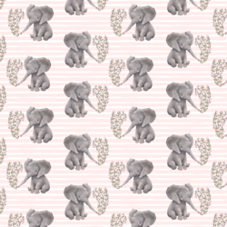 Little Baby Elephant on Stripes in Soft Blush