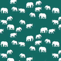 Elephant Silhouette in Emerald