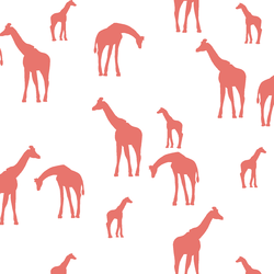 Giraffe Silhouette in Living Coral on White