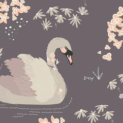 Dabbling Swan in Plum