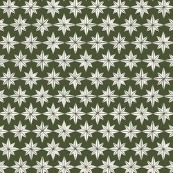 Stars in Cream on Mistletoe Green