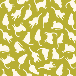 Silhouette Cats in Pear Green