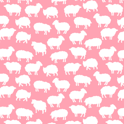 Sheep Silhouette in Rose Pink