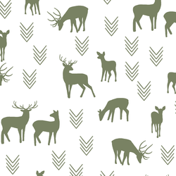 Deer Silhouette in Olive on White