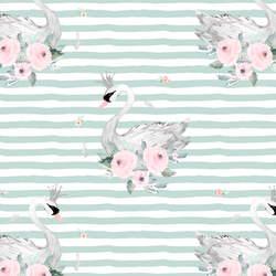 Blush Swans in Mint Green Stripes