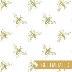 Bees in Gold on White