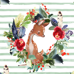 Boho Winter Deer in Spearmint Stripe
