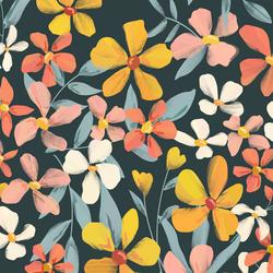 Large Blissful Blooms in Dark Slate