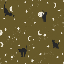 Large Moonstruck Cats in Olive Green