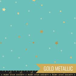 Tiny Stars in Turquoise Metallic