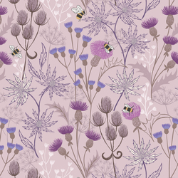 Bee & Thistles in Pale Lavender