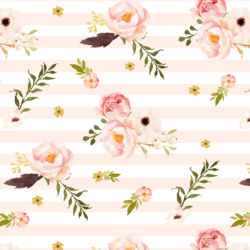 Floral Flurry on Stripes in Pale Peach